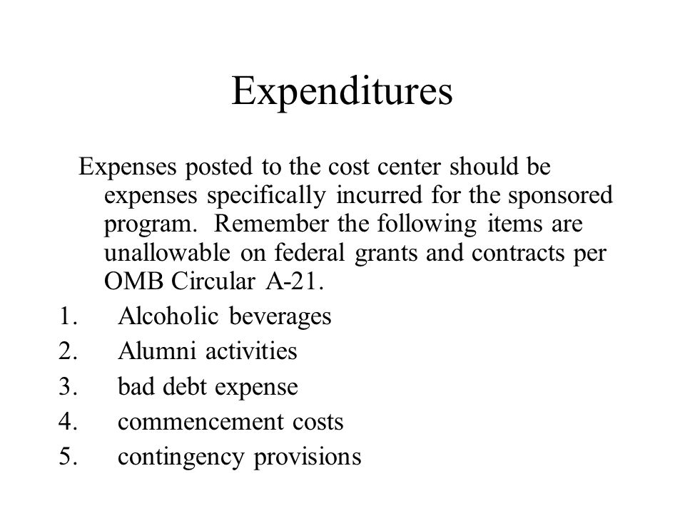 Expenditures Purchase orders can also be set-up once the cost center is in place.