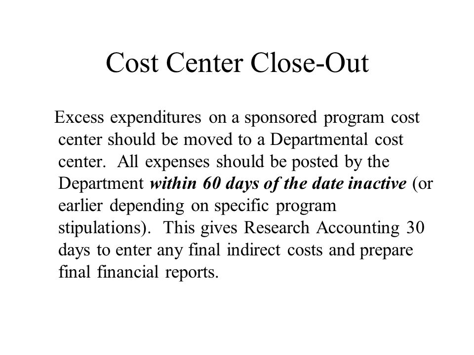 Expenses over 90 Days Old Expenses should be posted to sponsored programs timely.