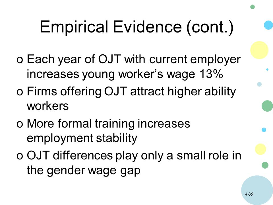 4-39 Empirical Evidence (cont.) oEach year of OJT with current employer increases young worker's wage 13% oFirms offering OJT attract higher ability workers oMore formal training increases employment stability oOJT differences play only a small role in the gender wage gap
