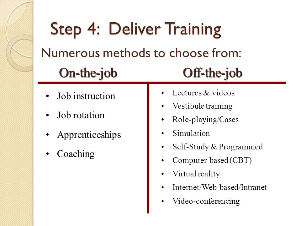 Step 4: Deliver Training On-the-job On-the-jobOff-the-job Job instruction Job rotation Apprenticeships Coaching Lectures & videos Vestibule training Role-playing/Cases Simulation Self-Study & Programmed Computer-based (CBT) Virtual reality Internet/Web-based/Intranet Video-conferencing Numerous methods to choose from: