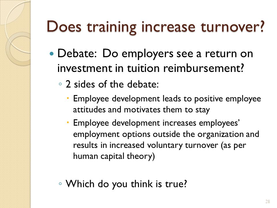 Does training increase turnover.