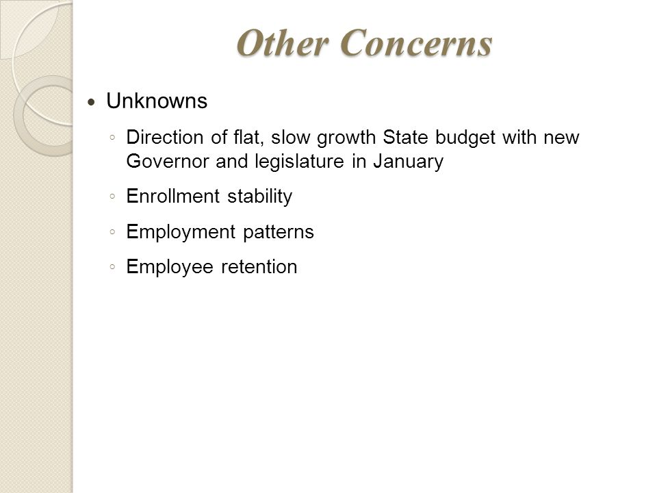 Other Concerns Unknowns ◦ Direction of flat, slow growth State budget with new Governor and legislature in January ◦ Enrollment stability ◦ Employment patterns ◦ Employee retention