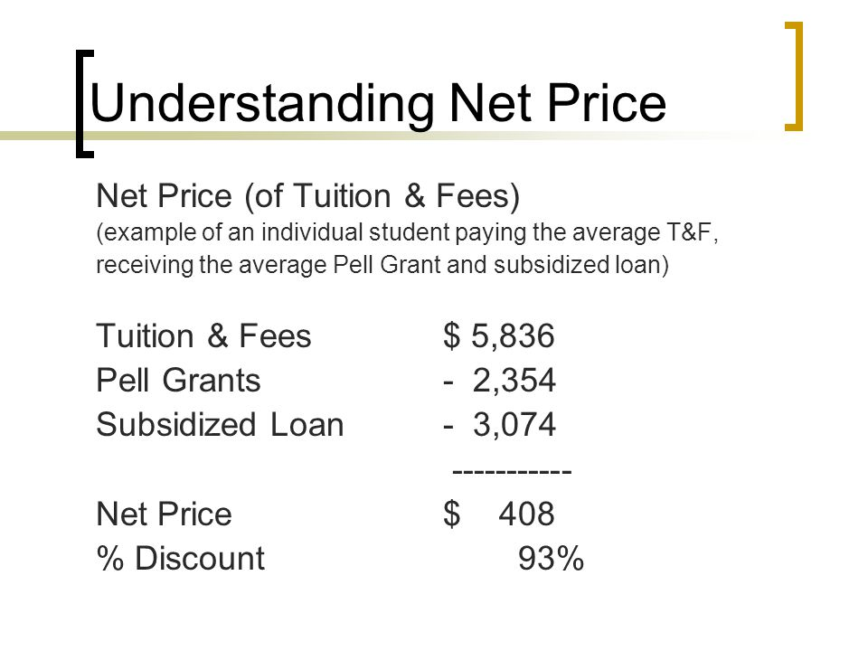 Understanding Net Price Net Price (of Tuition & Fees) (example of an individual student paying the average T&F, receiving the average Pell Grant and subsidized loan) Tuition & Fees$ 5,836 Pell Grants- 2,354 Subsidized Loan- 3,074 ----------- Net Price $ 408 % Discount 93%