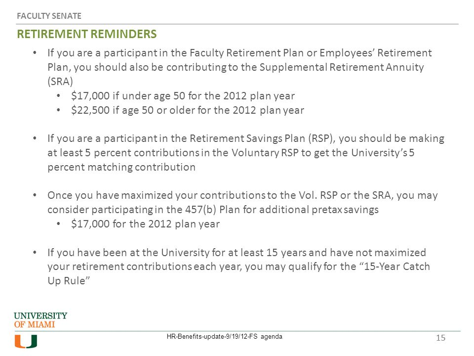 FACULTY SENATE RETIREMENT REMINDERS 15 If you are a participant in the Faculty Retirement Plan or Employees' Retirement Plan, you should also be contributing to the Supplemental Retirement Annuity (SRA) $17,000 if under age 50 for the 2012 plan year $22,500 if age 50 or older for the 2012 plan year If you are a participant in the Retirement Savings Plan (RSP), you should be making at least 5 percent contributions in the Voluntary RSP to get the University's 5 percent matching contribution Once you have maximized your contributions to the Vol.