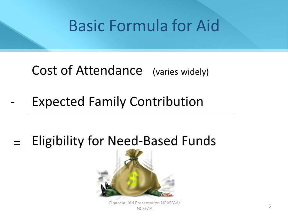 Financial Aid Presentation NCASFAA/ NCSEAA 7 Direct College Costs Tuition Required fees Room Meals Books and Supplies