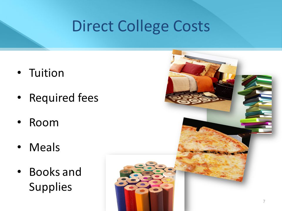 Financial Aid Presentation NCASFAA/ NCSEAA 8 Indirect College Costs Transportation Miscellaneous personal expenses, including documented costs for a personal computer Loan fees