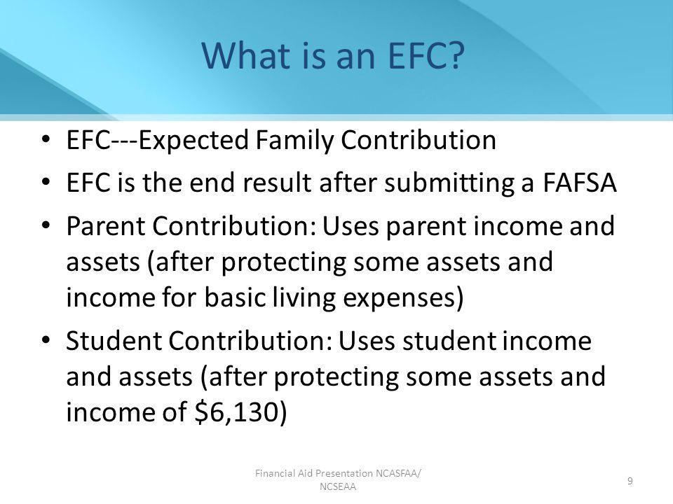 10 Determination of EFC Parents' contribution +Student's contribution =Expected Family Contribution Resource to review: FAFSA Forecaster www.fafsa.gov