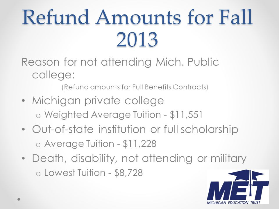 Refund Amounts for Fall 2013 Reason for not attending Mich.
