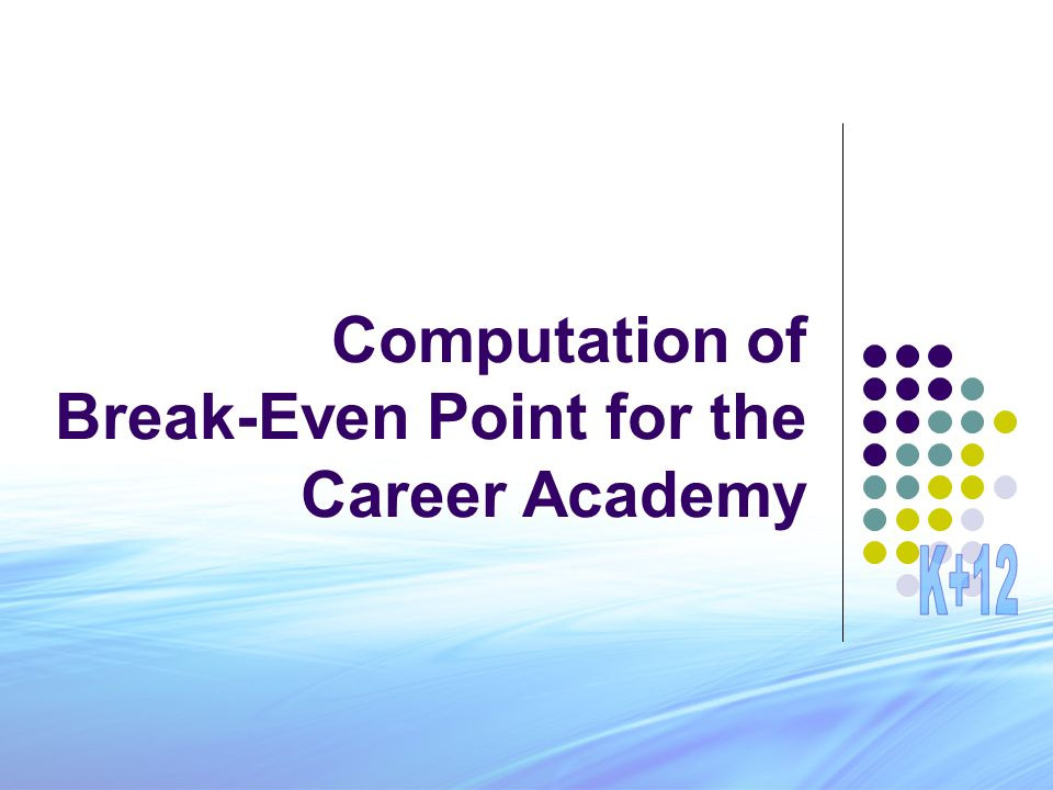 Computation of Break-Even Point for the Career Academy