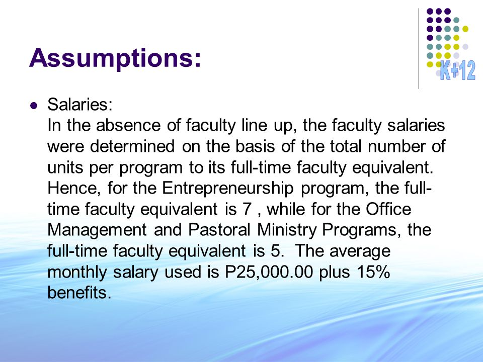 Assumptions: Salaries: In the absence of faculty line up, the faculty salaries were determined on the basis of the total number of units per program to its full-time faculty equivalent.