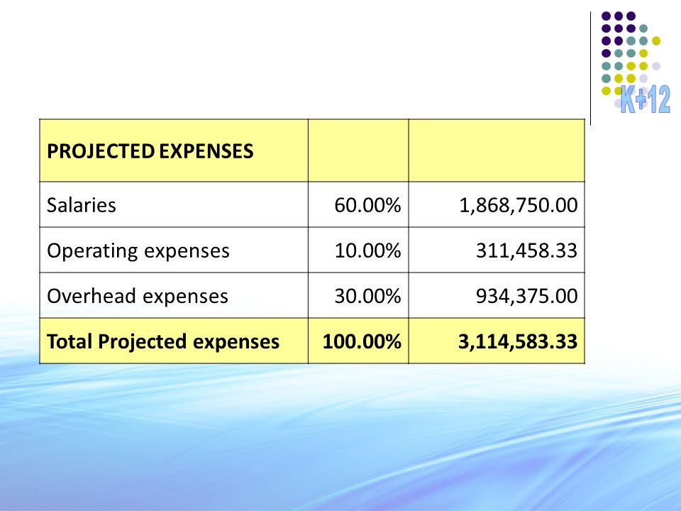 PROJECTED EXPENSES Salaries60.00%1,868,750.00 Operating expenses10.00%311,458.33 Overhead expenses30.00%934,375.00 Total Projected expenses100.00%3,11