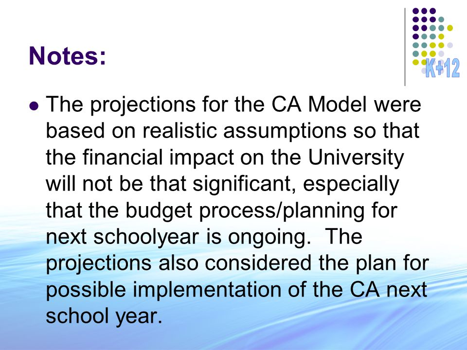 Notes: The projections for the CA Model were based on realistic assumptions so that the financial impact on the University will not be that significan