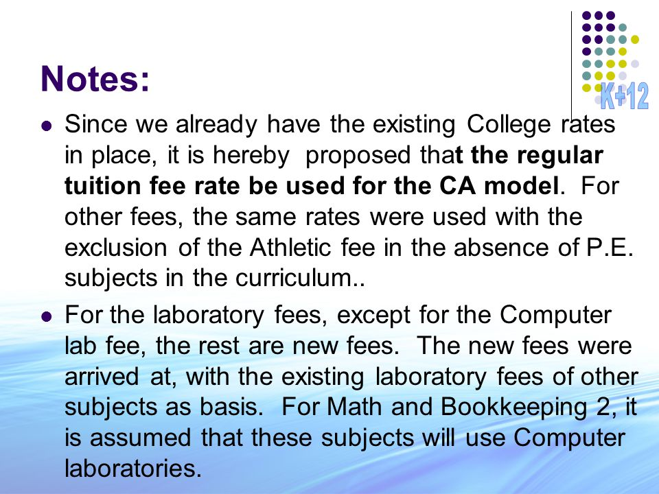 Notes: Since we already have the existing College rates in place, it is hereby proposed that the regular tuition fee rate be used for the CA model. Fo