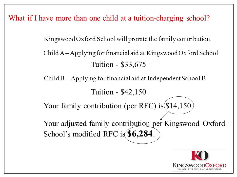 What if I have more than one child at a tuition-charging school? Kingswood Oxford School will prorate the family contribution. Child A – Applying for