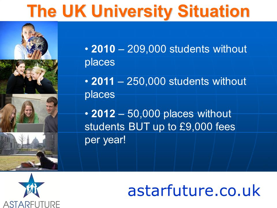 astarfuture.co.uk The UK University Situation 2010 – 209,000 students without places 2011 – 250,000 students without places 2012 – 50,000 places without students BUT up to £9,000 fees per year!
