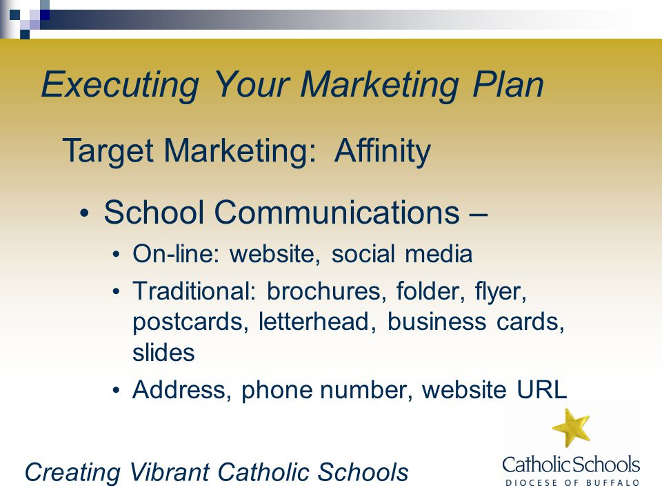 Creating Vibrant Catholic Schools Executing Your Marketing Plan School Communications – On-line: website, social media Traditional: brochures, folder,