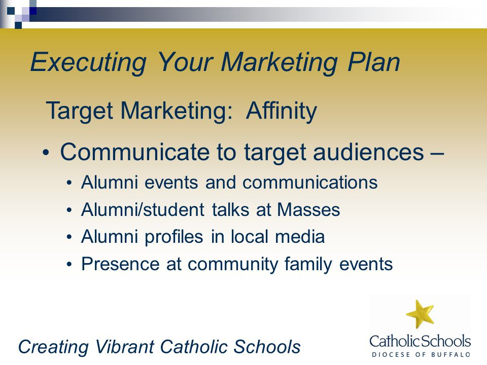 Creating Vibrant Catholic Schools Executing Your Marketing Plan Communicate to target audiences – Alumni events and communications Alumni/student talks at Masses Alumni profiles in local media Presence at community family events Target Marketing: Affinity