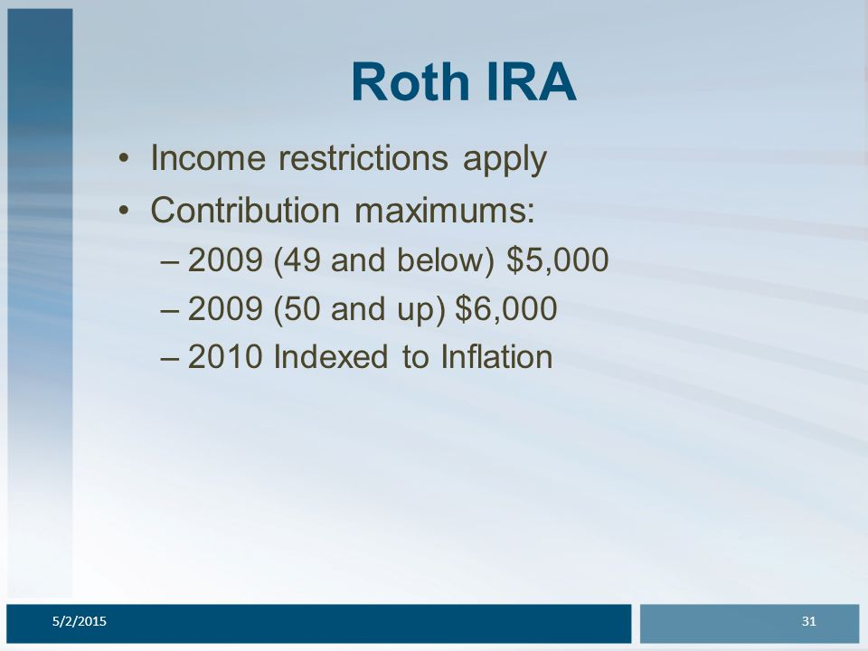 Roth IRA Income restrictions apply Contribution maximums: –2009 (49 and below) $5,000 –2009 (50 and up) $6,000 –2010 Indexed to Inflation 5/2/201531