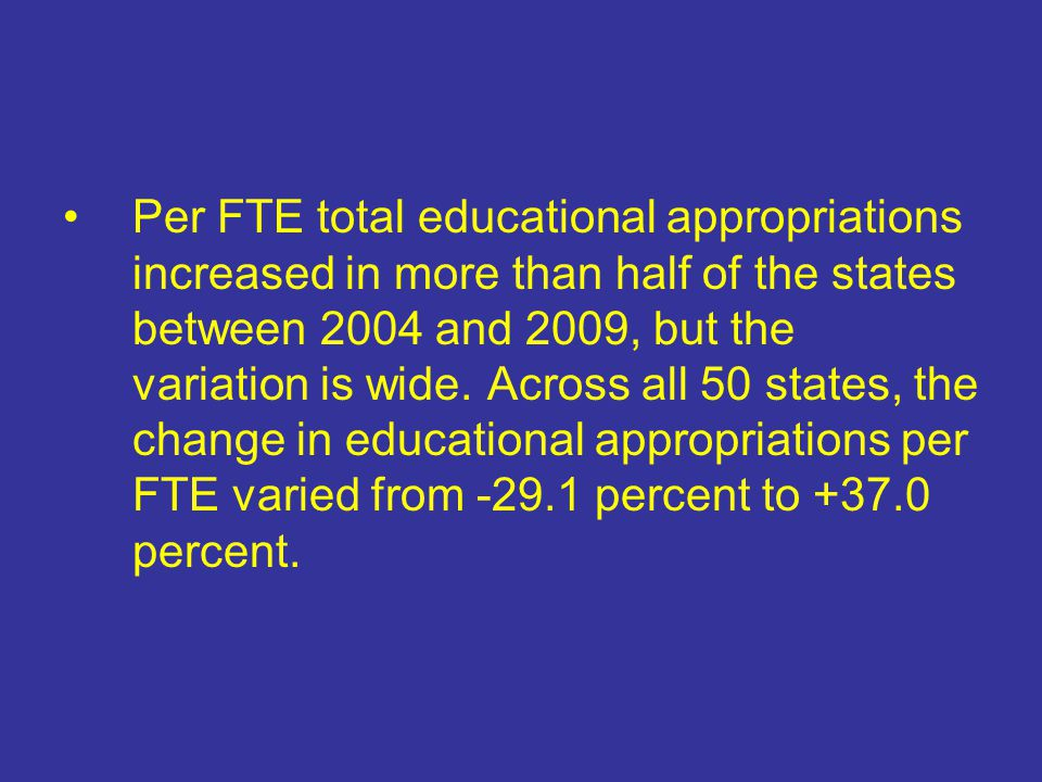 Per FTE total educational appropriations increased in more than half of the states between 2004 and 2009, but the variation is wide.