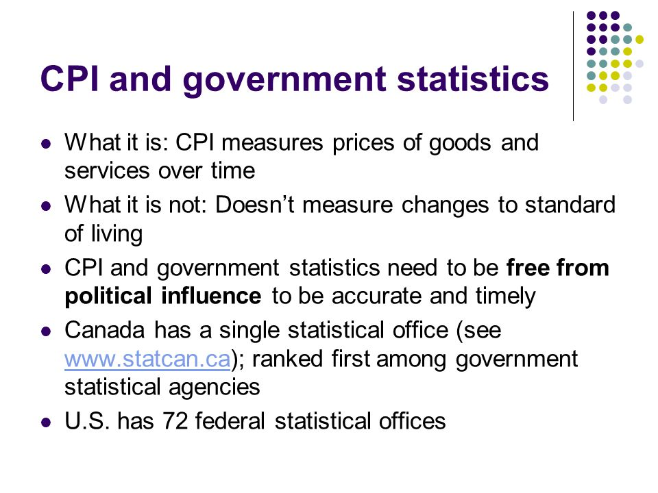 CPI and government statistics What it is: CPI measures prices of goods and services over time What it is not: Doesn't measure changes to standard of l