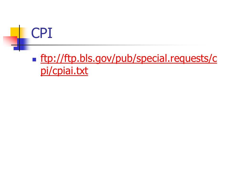 CPI ftp://ftp.bls.gov/pub/special.requests/c pi/cpiai.txt ftp://ftp.bls.gov/pub/special.requests/c pi/cpiai.txt