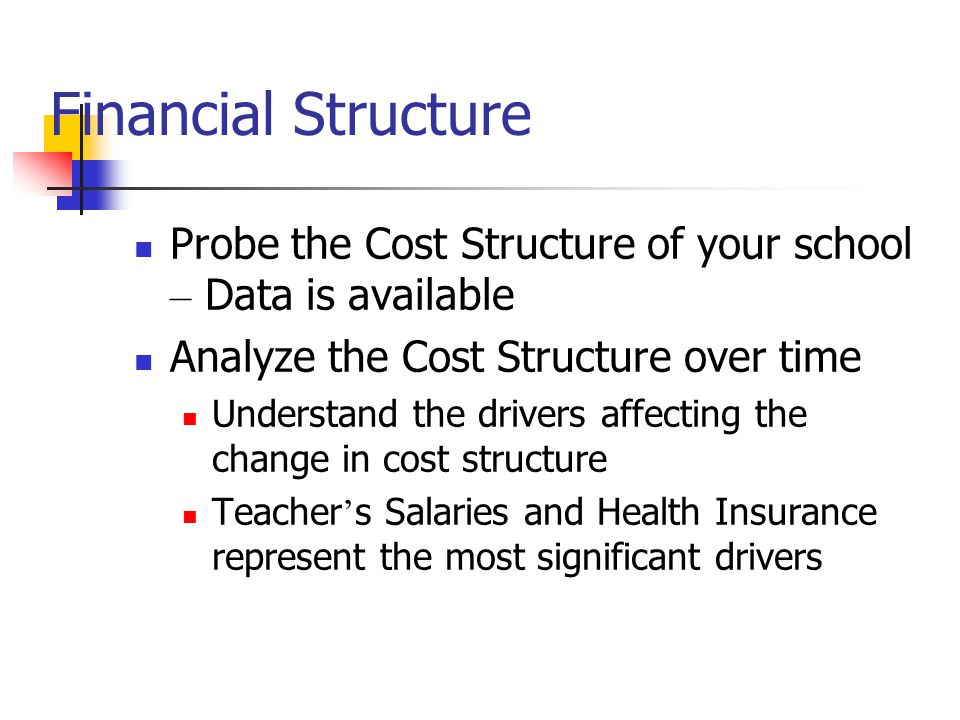 Financial Structure Probe the Cost Structure of your school – Data is available Analyze the Cost Structure over time Understand the drivers affecting the change in cost structure Teacher ' s Salaries and Health Insurance represent the most significant drivers