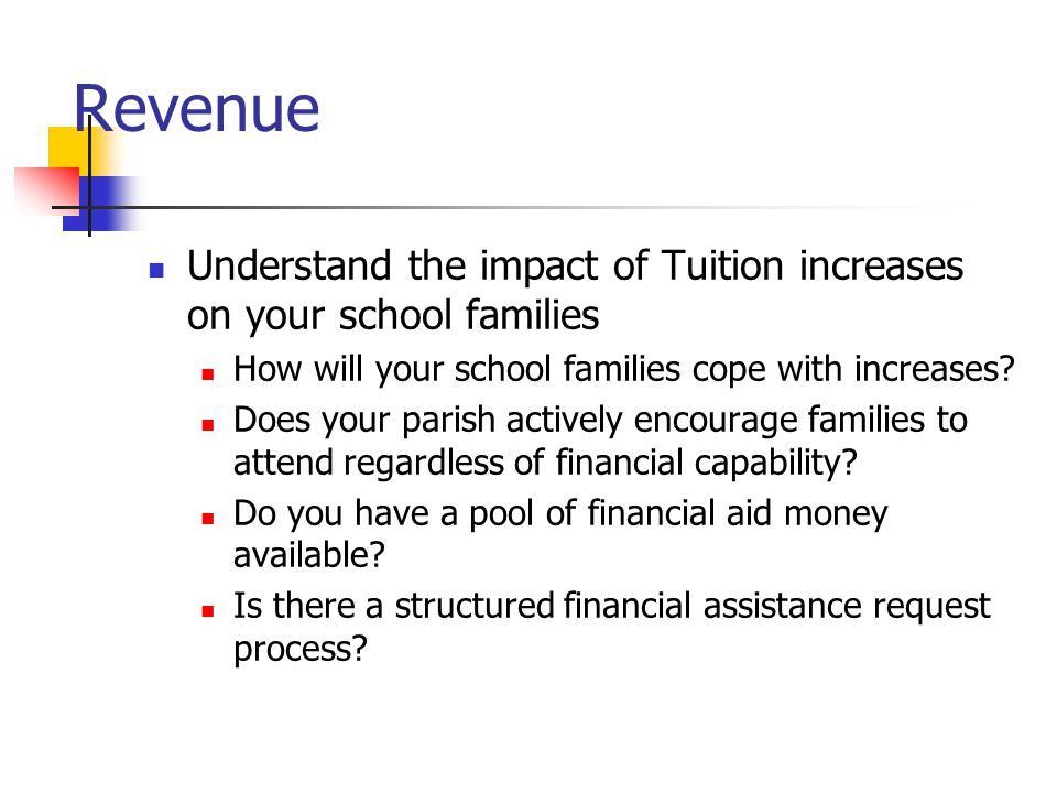 Revenue Understand the impact of Tuition increases on your school families How will your school families cope with increases.