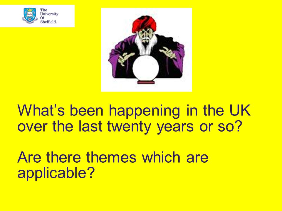 What's been happening in the UK over the last twenty years or so.