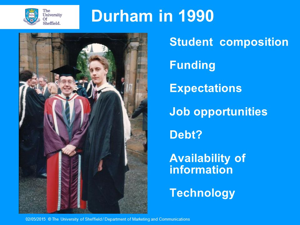 02/05/2015© The University of Sheffield / Department of Marketing and Communications Durham in 1990 Student composition Funding Expectations Job opportunities Debt.