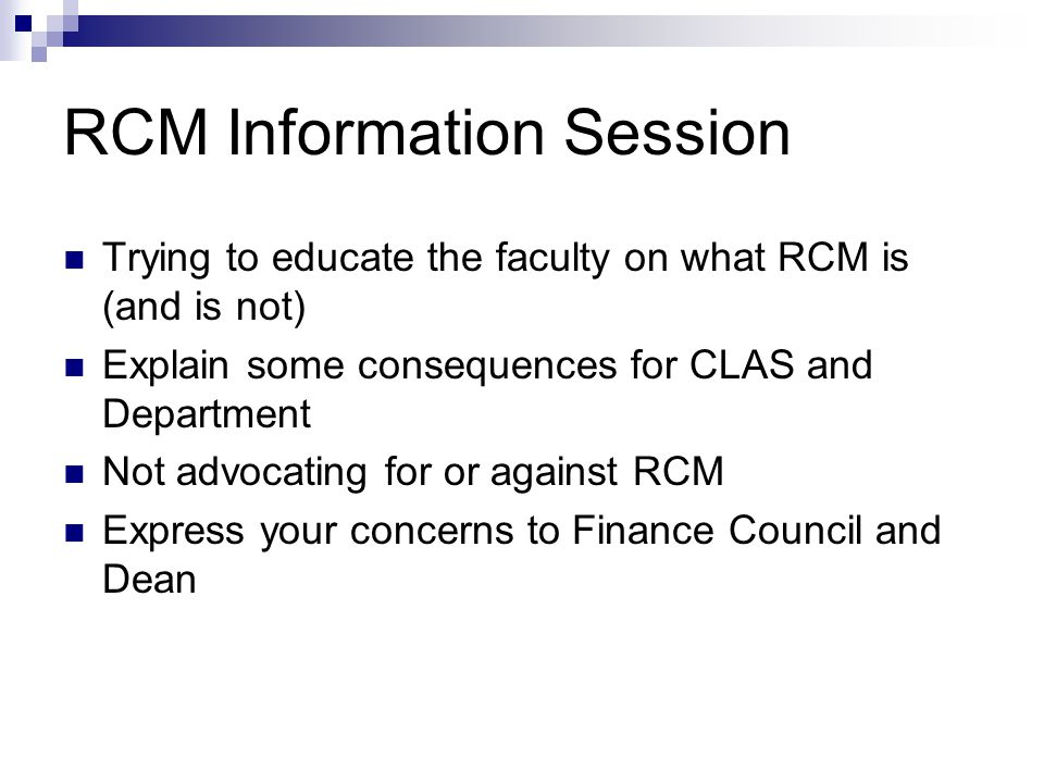 QuestionsAnswers What's the immediate result of the implementation of RCM.