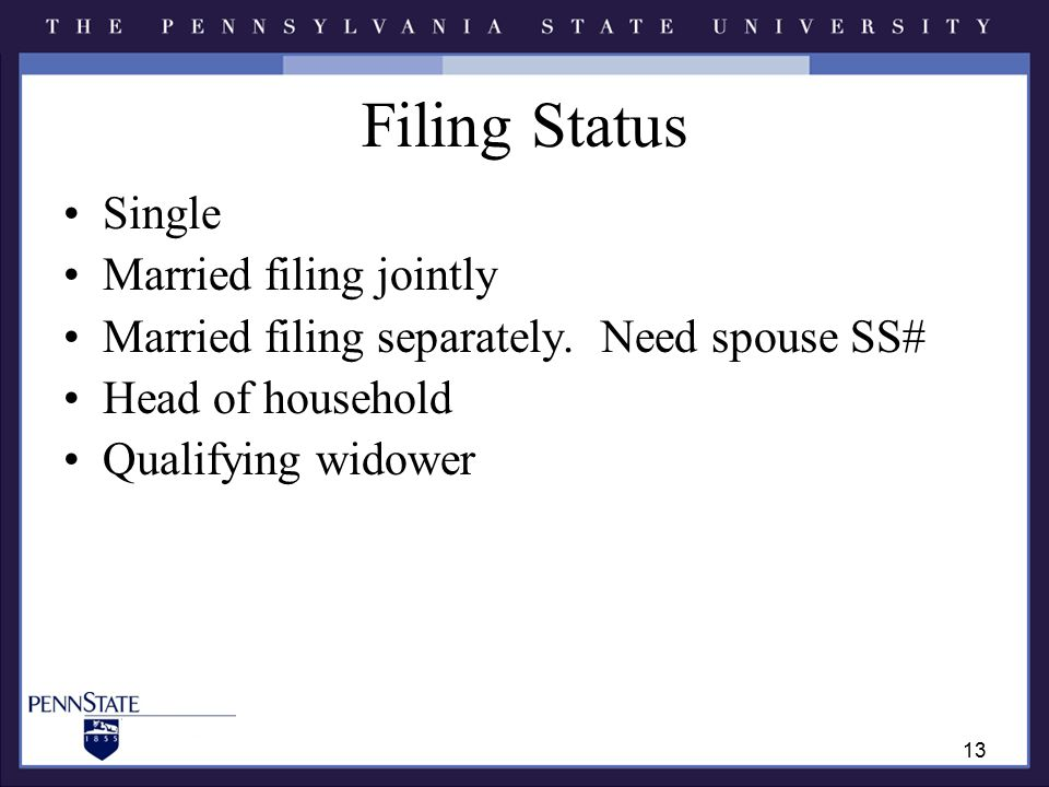 Filing Status Single Married filing jointly Married filing separately.