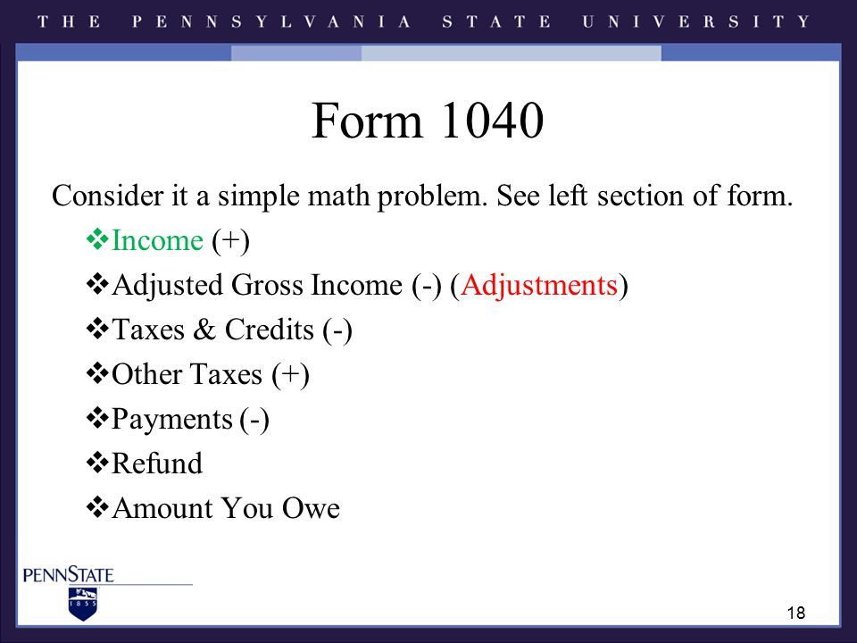 Form 1040 Consider it a simple math problem. See left section of form.