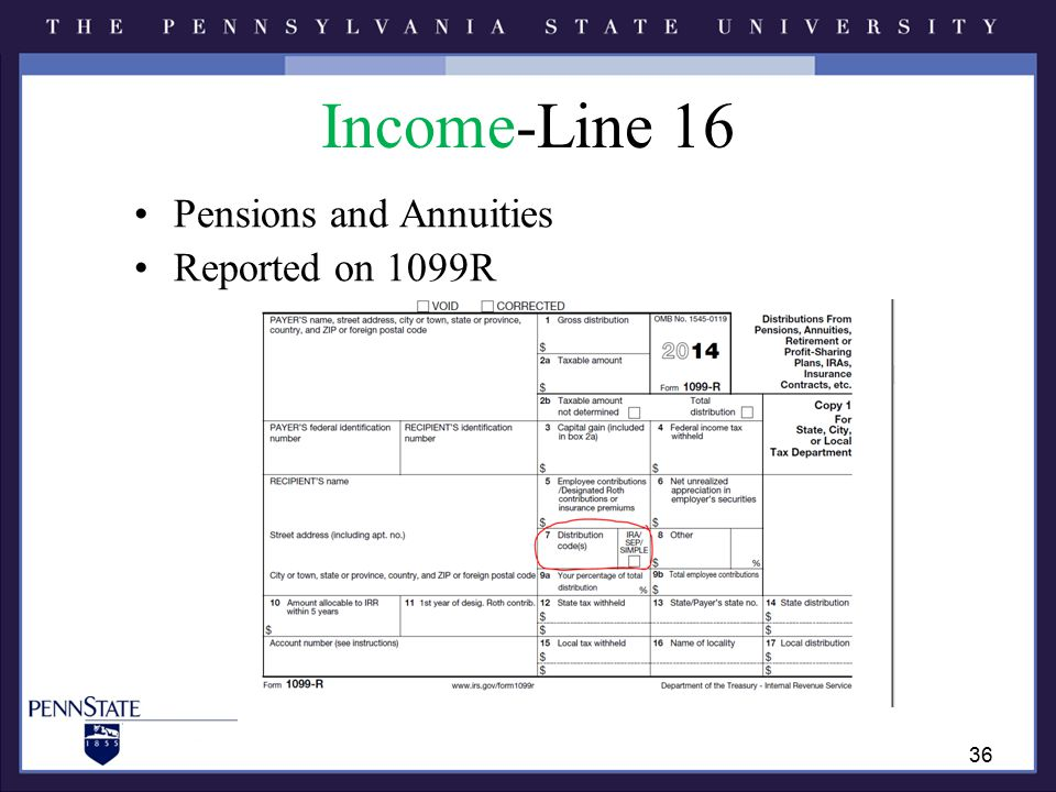 Income-Line 16 Pensions and Annuities Reported on 1099R 36