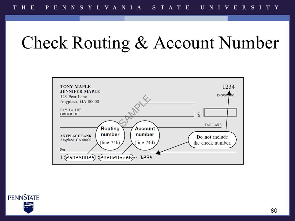 Check Routing & Account Number 80