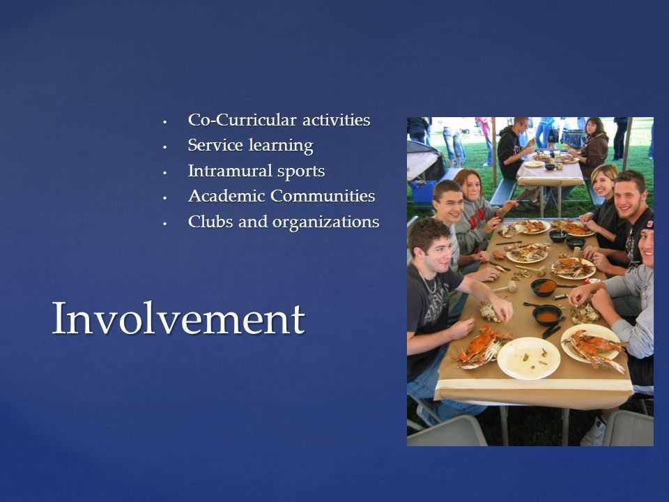 Co-Curricular activities Co-Curricular activities Service learning Service learning Intramural sports Intramural sports Academic Communities Academic Communities Clubs and organizations Clubs and organizations Involvement