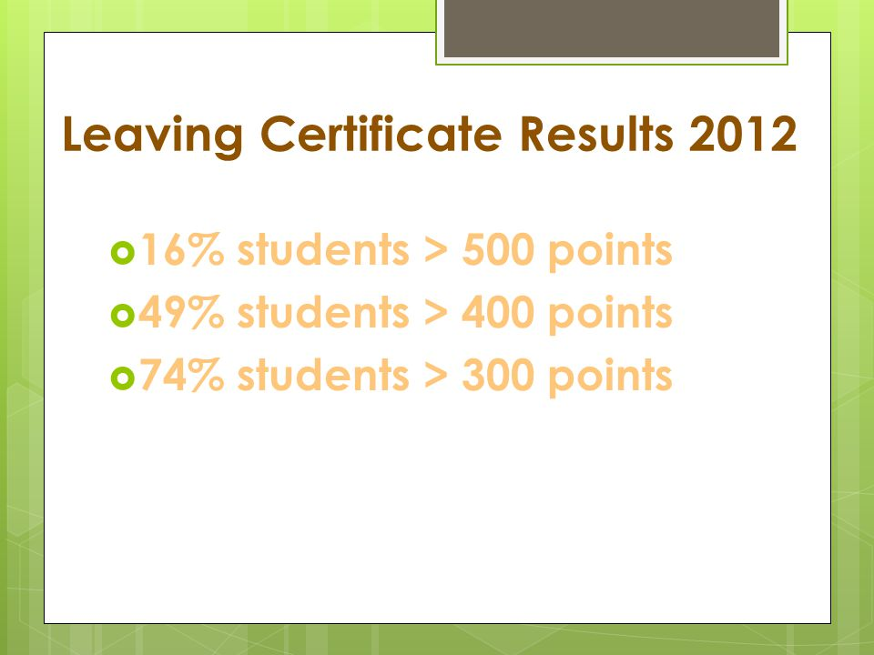 Leaving Certificate Results 2012  16% students > 500 points  49% students > 400 points  74% students > 300 points