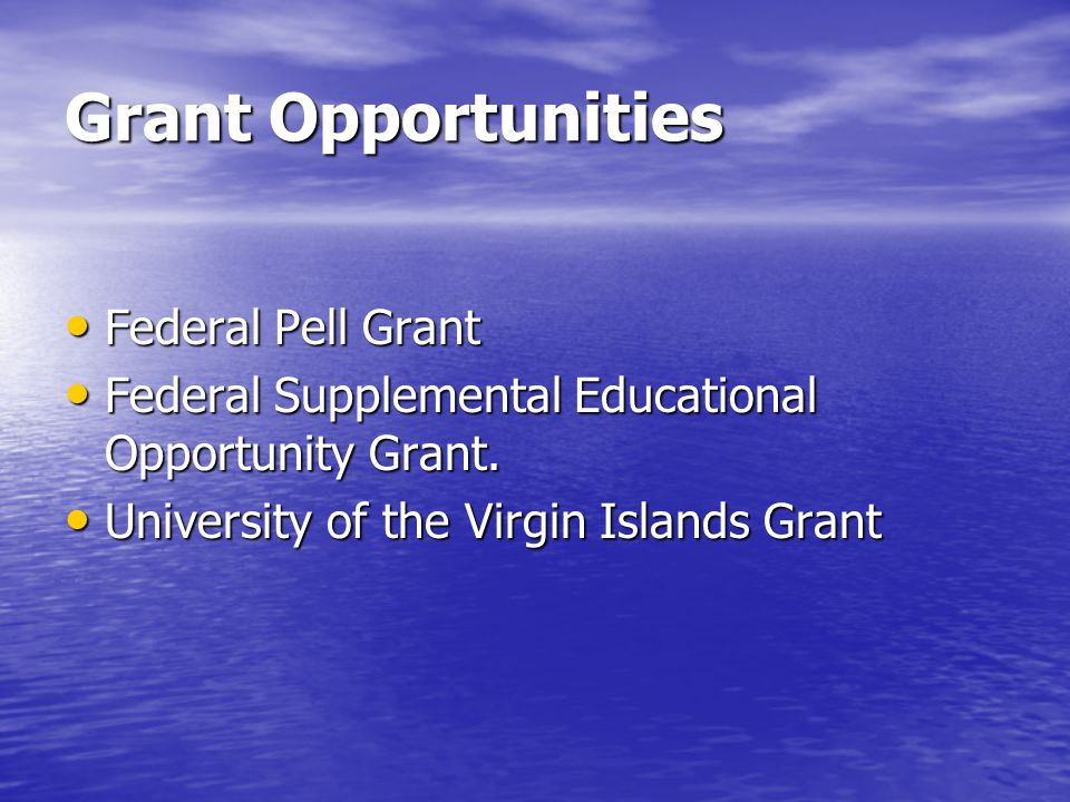 Grant Opportunities Federal Pell Grant Federal Pell Grant Federal Supplemental Educational Opportunity Grant.