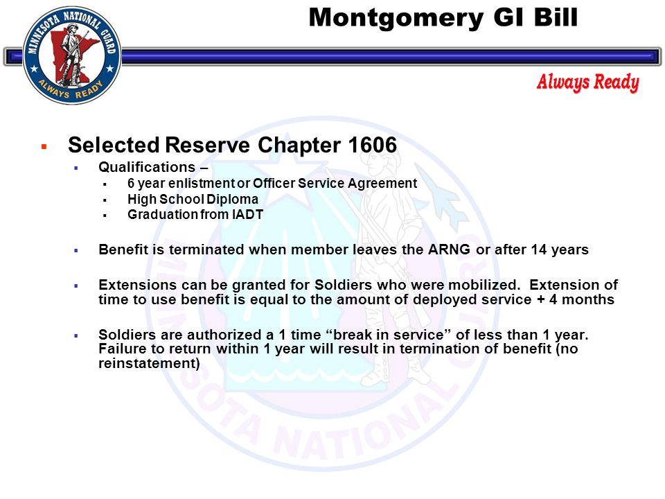  Chapter 1607 - Reserve Education Assistance Program (REAP)  Entitlement to Chapter 1607 benefits are based completion of a qualifying period of mobilized service.