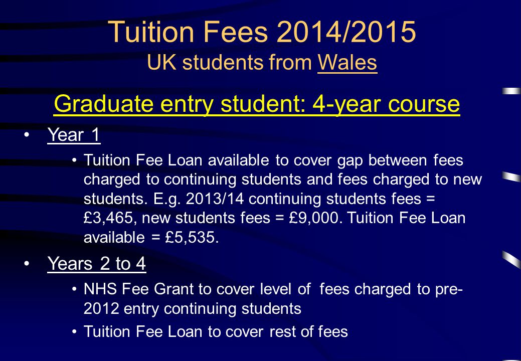 Tuition Fees 2014/2015 UK students from Wales Graduate entry student: 4-year course Year 1 Tuition Fee Loan available to cover gap between fees charged to continuing students and fees charged to new students.