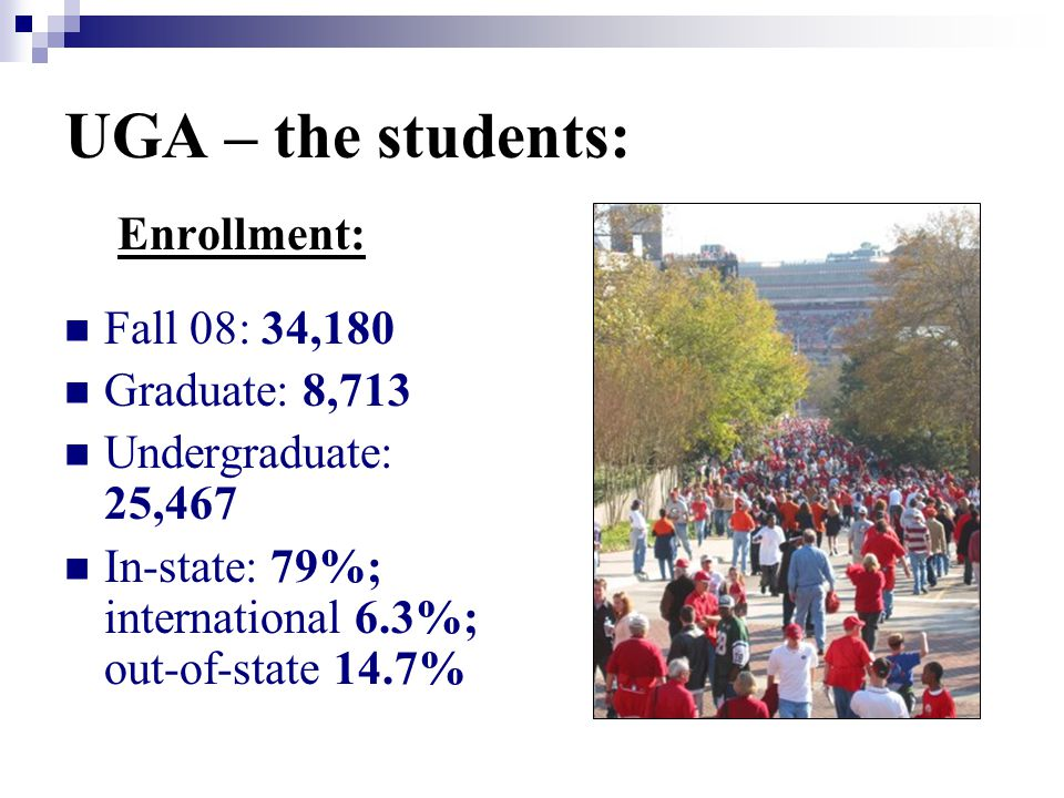 UGA – the students: Enrollment: Fall 08: 34,180 Graduate: 8,713 Undergraduate: 25,467 In-state: 79%; international 6.3%; out-of-state 14.7%