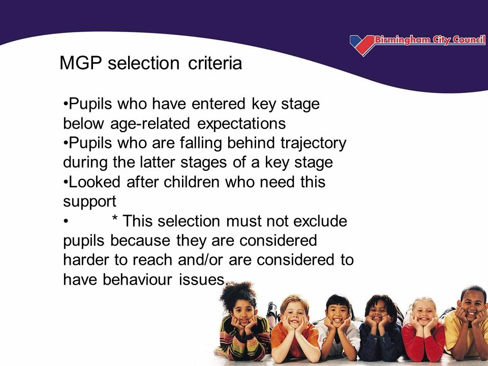 MGP selection criteria Pupils who have entered key stage below age-related expectations Pupils who are falling behind trajectory during the latter stages of a key stage Looked after children who need this support * This selection must not exclude pupils because they are considered harder to reach and/or are considered to have behaviour issues.