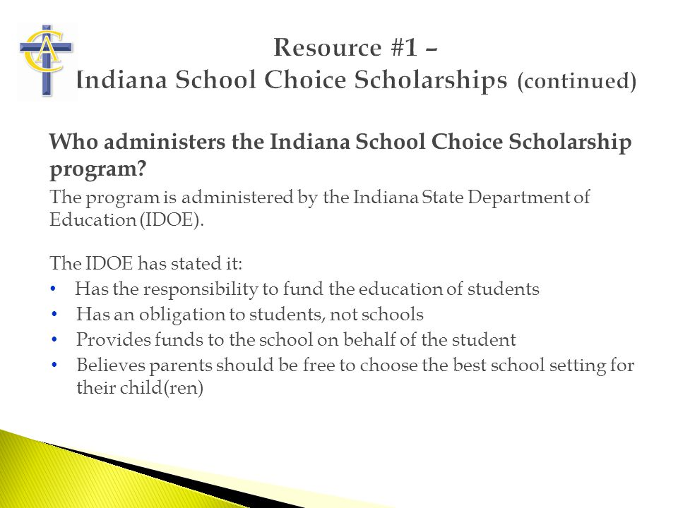 Who administers the Indiana School Choice Scholarship program.