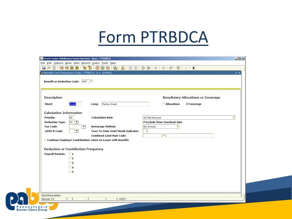 Form PTRBDCA