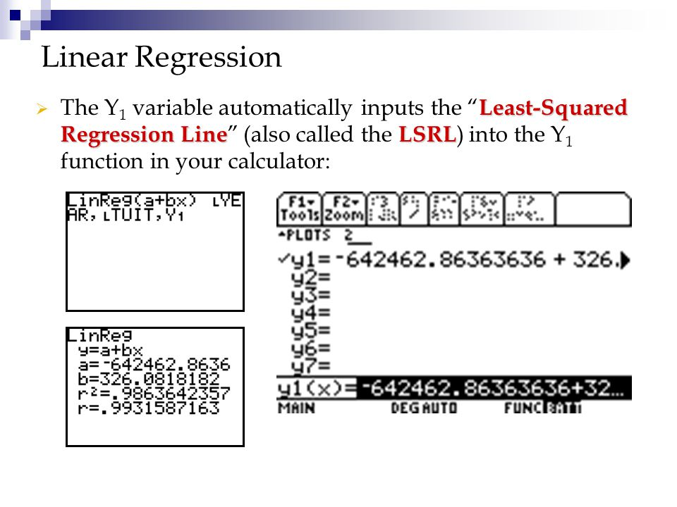 """ Least-Squared Regression LineLSRL  The Y 1 variable automatically inputs the """" Least-Squared Regression Line """" (also called the LSRL ) into the Y 1"""