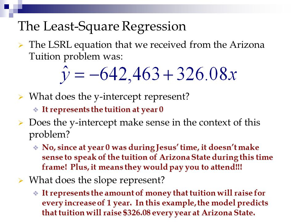   The LSRL equation that we received from the Arizona Tuition problem was: The Least-Square Regression   What does the y-intercept represent?  It