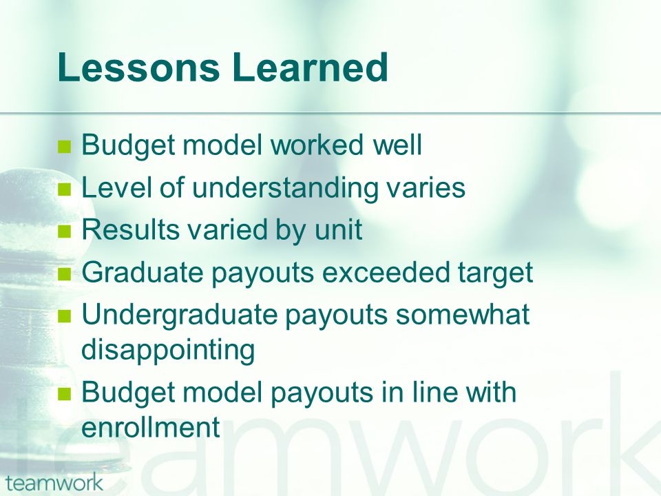 Lessons Learned Budget model worked well Level of understanding varies Results varied by unit Graduate payouts exceeded target Undergraduate payouts somewhat disappointing Budget model payouts in line with enrollment