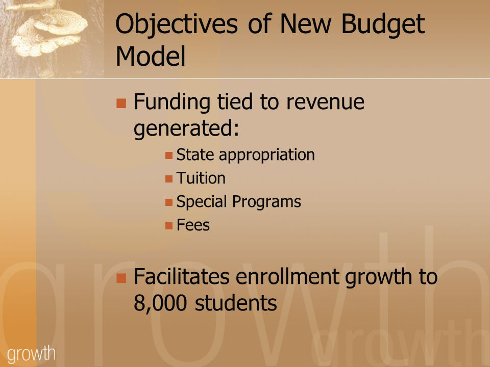 Objectives of New Budget Model Funding tied to revenue generated: State appropriation Tuition Special Programs Fees Facilitates enrollment growth to 8,000 students