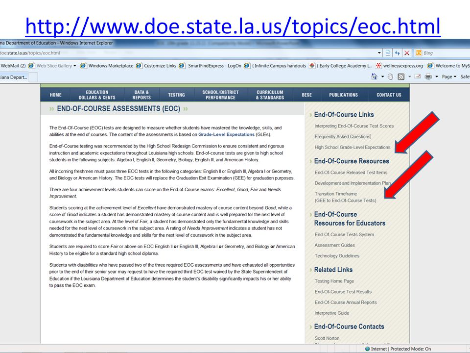 http://www.doe.state.la.us/topics/eoc.html
