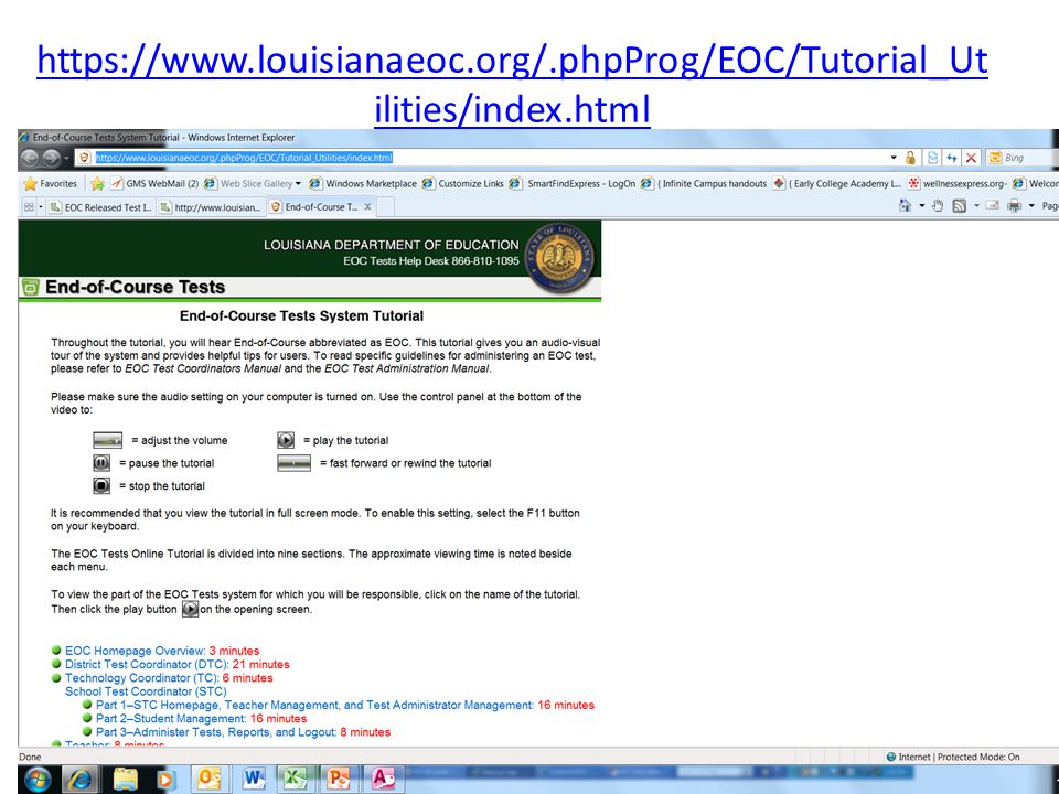 https://www.louisianaeoc.org/.phpProg/EOC/Tutorial_Ut ilities/index.html