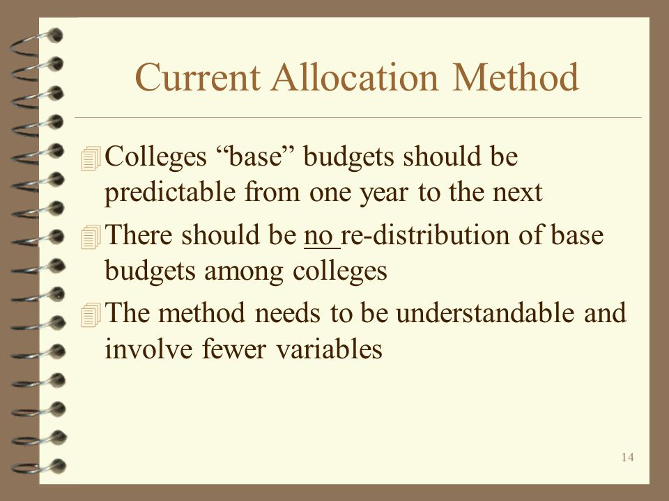13 Current Allocation Method 4 Formula frozen in 1999 4 At that time funding per FTE at the CC's ranged from $2,171 to $5,113 per FTE 4 WACTC adopted principles for new formula  Colleges' base budgets should be independent of other colleges' actions/circumstances
